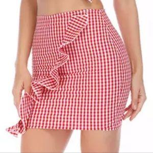 Boutique ruffle gingham frill trim mini skirt S
